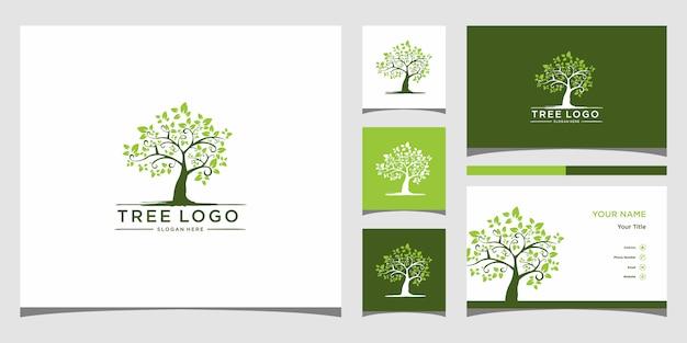Baumsymbol. elemente. grüne gartenlogoschablone und visitenkarte premium vector