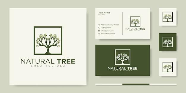 Baumsymbol. elemente. grüne gartenlogoschablone und visitenkarte