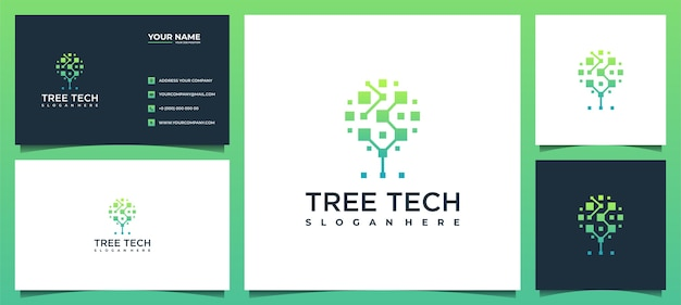 Baumtechnologie-softwarelösungen mit visitenkartenvorlagen