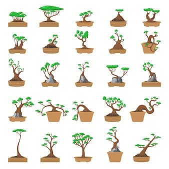 Baumtopfsymbole eingestellt. karikatursatz der baumtopfikonen für web