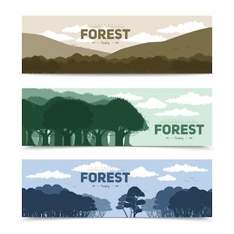 Baumwaldfahnen, die mit unterschiedlicher naturszene eingestellt wurden, lokalisierte vektorillustration