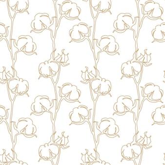 Baumwollblumen-nahtloses muster in einer durchgehenden strichzeichnung. blütenball im sketch-doodle-stil. wird für hochzeitseinladungen, tapeten, textilien, geschenkpapier verwendet. vektor-illustration