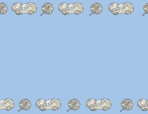 Baumwollgarnfäden im comic-stil kritzeln nahtloses randmuster. gemütliche boho craft postkarte oder banner mock-up. buchstabenformat dekoration hintergrund textur fliese. platz für text