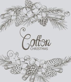 Baumwollweihnachtszusammensetzung mit dekorationen