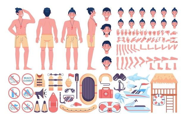 Bausatz für strandretter. männlicher rettungsschwimmer, der einer person erste hilfe leistet