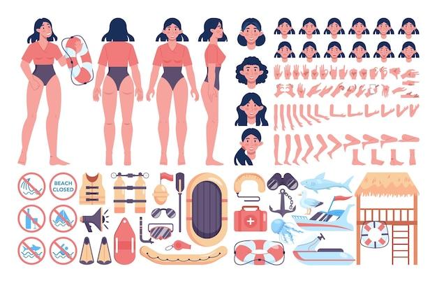 Bausatz für strandretter. weiblicher rettungsschwimmer, der einer person erste hilfe leistet