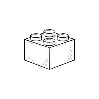 Baustein handsymbol gezeichneten umriss doodle. konstruktion, gebäude, ziegel, spielkonzept