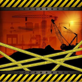 Baustelle bei sonnenuntergang hintergrund