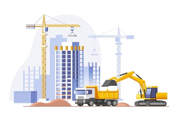 Baustelle, die ein haus baut immobiliengeschäft vektorillustration