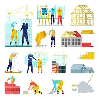 Baustelle, kran, arbeiter architekten, technische illustrationen gesetzt. hausbau entwicklung. geschäft der stadtindustrie in stadtarchitektur, ausrüstung und technologie.