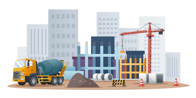 Baustellenkonzept mit betonmischer-lkw- und materialausrüstungsillustration Premium Vektoren