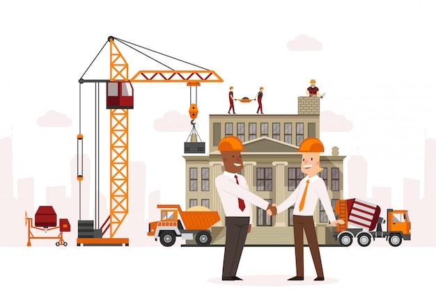 Bautechnik, abschlussvereinbarung zwischen geschäftsleuten illustration. hebekran in der anlage, bauteam