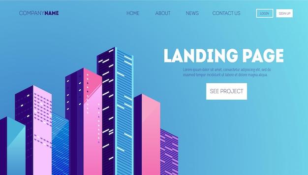 Bauunternehmen-webseitenvorlage. zielseite für eine website über immobiliengeschäfte