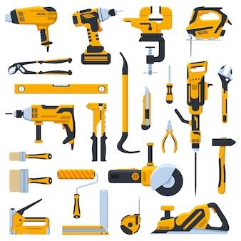Bauwerkzeuge. bau hausreparatur handwerkzeuge, bohrer, säge und schraubendreher. illustrationsikonen der renovierungskit gesetzt. werkzeuge presslufthammer und schraubstock, stichsäge und wasserwaage