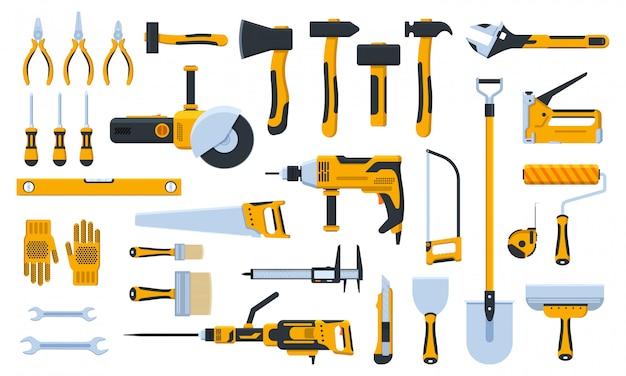 Bauwerkzeuge. gebäudereparatur-handwerkzeuge, renovierungsset, hammer, säge, bohrer und schaufel. illustrationssymbole des hauptreparaturwerkzeugs eingestellt. reparaturwerkzeug, hammer und kelle, pinsel und säge