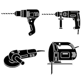 Bauwerkzeuge stellen bohrhammer und schleifer ein, schwarze ikonenschablone.