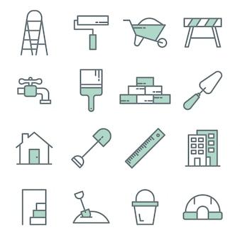 Bauwerkzeuglinie ikonenvektorsatz