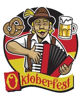 Bayerischer mann, der oktoberfest mit dem spielen des akkordeons feiert