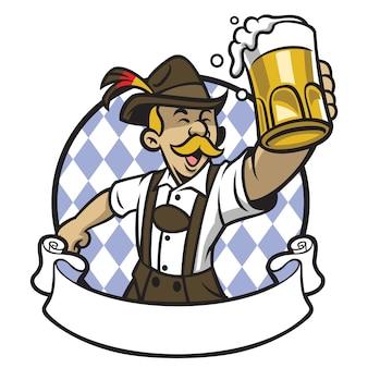 Bayerischer mann feiert oktoberfest mit einem großen glas bier