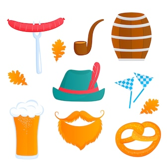 Bayerisches oktoberfest. glas bier, fass, brezel, wurst, pfeife und hut.