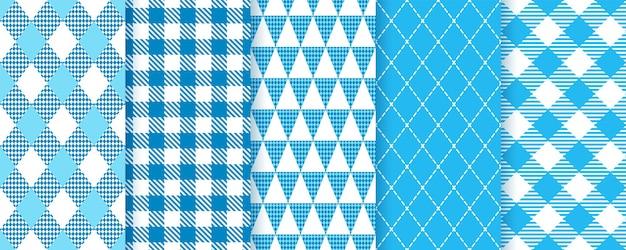 Bayerisches oktoberfest nahtlose muster. blaue rautenhintergründe. set karierte prints mit raute, dreieck