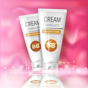 Bb creme in verschiedenen verpackungsfarben. illustration von realistischen paketen von make-up foundation tuben.