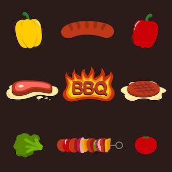 Bbq assets für spiel oder restaurant menü logo