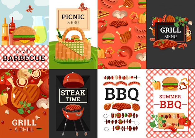 Bbq barbecue picknick banner set
