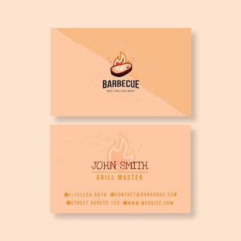 Bbq doppelseitige visitenkartenvorlage