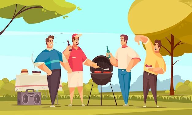 Bbq freunde zusammensetzung mit outdoor-landschaft und gekritzel stil charaktere gruppe von vier freunden essen grillen