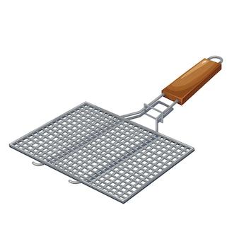 Bbq-grill-grill-grill-illustration. manueller grillrost mit holzgriff