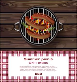 Bbq-grill mit heißen würstchen