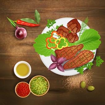Bbq grillte die steaks, die mit verschiedenen krautwürzen und -soße auf realistischer illustration des holztischs gedient wurden