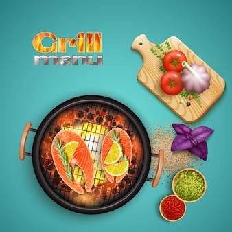 Bbq-lachse kochten auf grill mit zitrone und kräutern auf blauer realistischer illustration