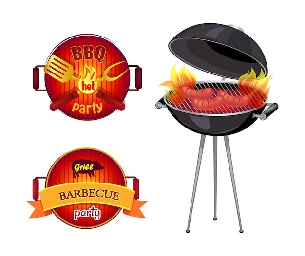 Bbq party barbecue elemente gesetzt