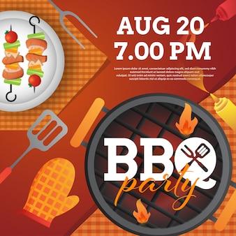 Bbq party einladungsschablone mit grill