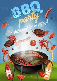 Bbq-party-fahne, grillmaschine mit fleisch.