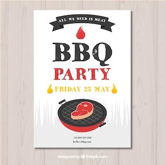 Bbq-partyeinladung im flachen design