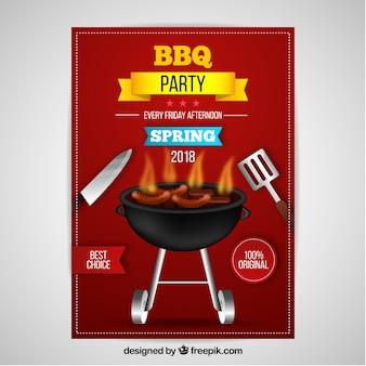 Bbq-partyeinladung im realistischen design