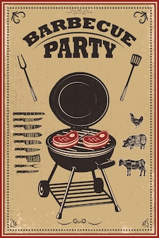 Bbq partyplakatillustration