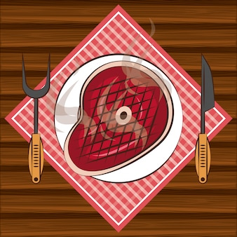 Bbq-steakhausbestandteile auf tabelle