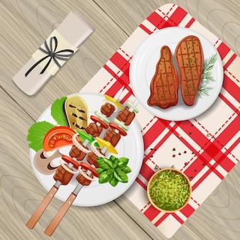 Bbq-steaks und -kebab mit verschiedenen kräutern und gemüse auf realistischer illustration des holztischs