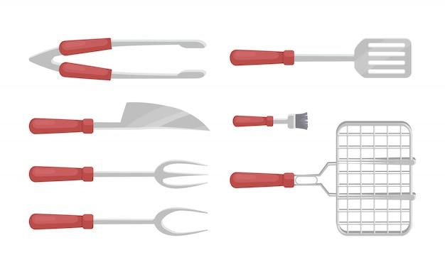 Bbq-tischbesteck-grill-ikonen eingestellte vektor-illustration