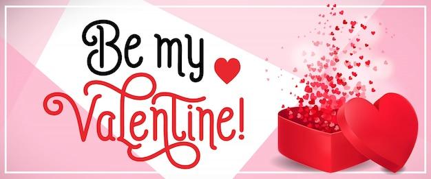 Be my valentine schriftzug mit konfetti