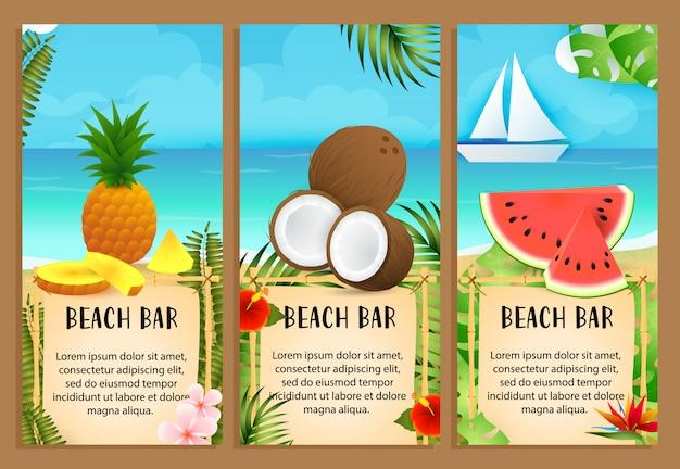 Beach bar schriftzüge mit kokosnuss, ananas und wassermelone