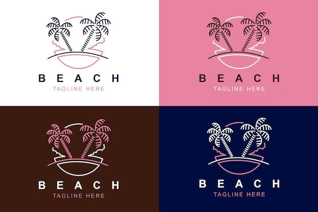 Beach line art logo design