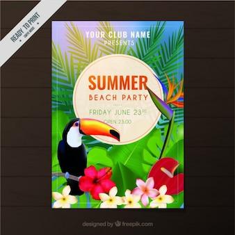 Beach-party-flyer mit tukan und blumen