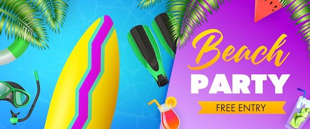 Beach party, free entry schriftzug, surfbrett, tauchermaske
