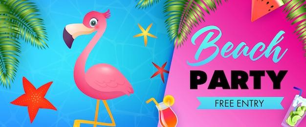 Beach party, freier eintritt schriftzug mit niedlichen flamingo