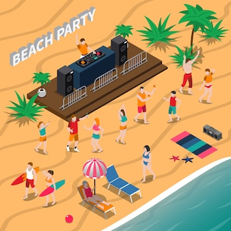 Beach party isometrische darstellung